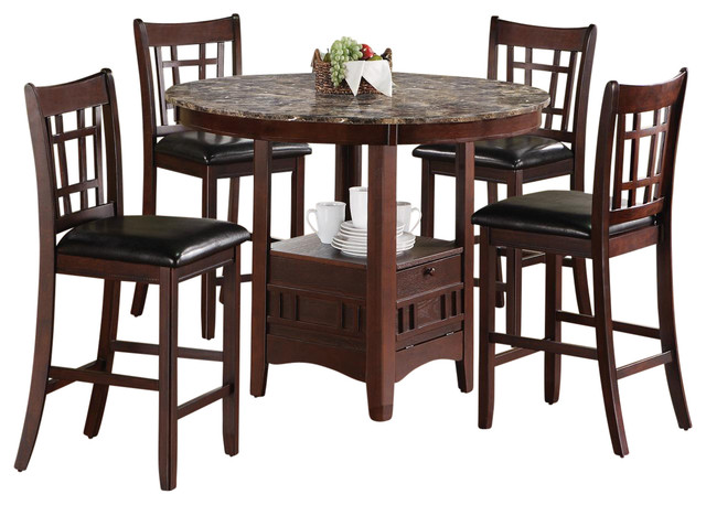5PC Oval Counter Height Table/Chair Dining Set