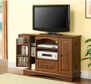 brown wood 42 inch highboy tv stand contemporary entertainment centers and tv stands by. Black Bedroom Furniture Sets. Home Design Ideas
