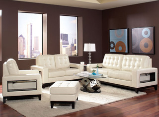 pcs cream leather sofa set modern living room furniture sets