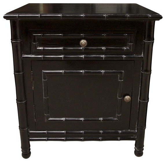 Noir Furniture Bamboo Side Table Gtab222y Hand Rubbed Black Right Asian Side Tables