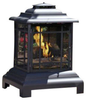Black Powder Coated Steel Pagoda Patio Fireplace traditional-outdoor