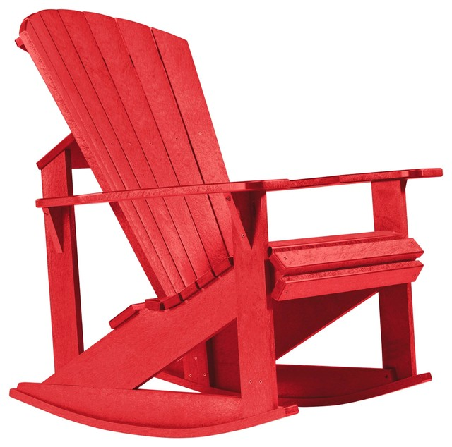 C R Plastics Addy Rocker In Red Contemporary Outdoor Rocking Chairs By
