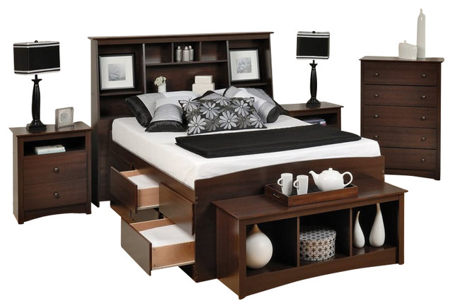 Prepac Fremont 5 Piece Tall Full Bedroom Set with Bench
