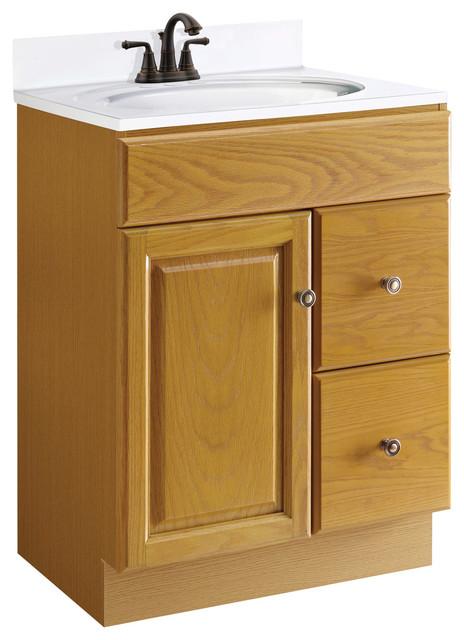 Claremont 24 x18 oak 1 door 2 drawer honey oak finish traditional bathroom vanities and for 24 bathroom vanity with drawers
