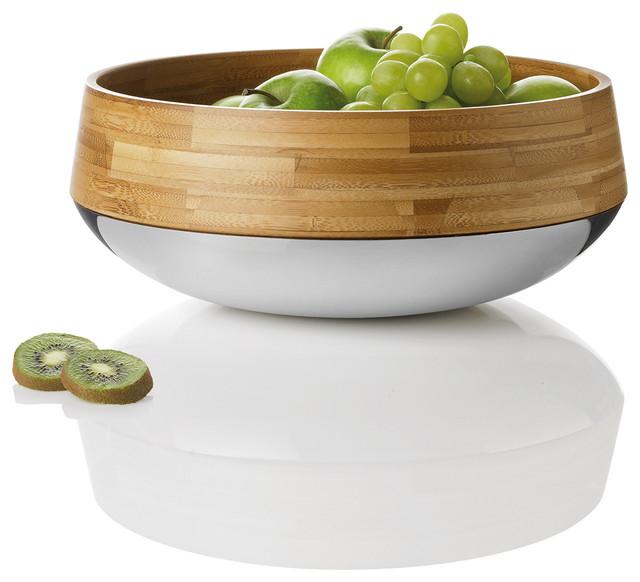 Kontra Bamboo Steel Fruit Salad Bowl Stelton Modern