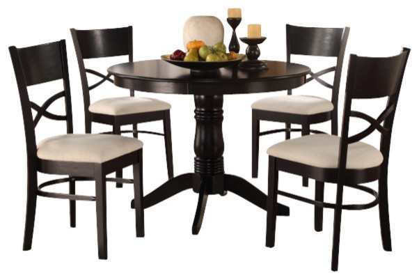 Country style black finish round table and chairs with for Traditional round dining table sets