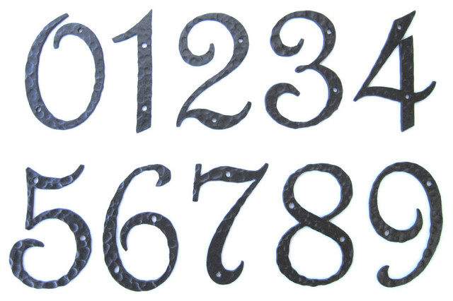 Rustic spanish style hammered wrought iron address numbers black
