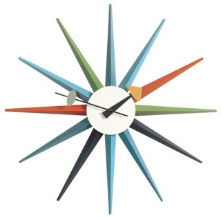 sunburst clock by vitra modern clocks by lumens. Black Bedroom Furniture Sets. Home Design Ideas
