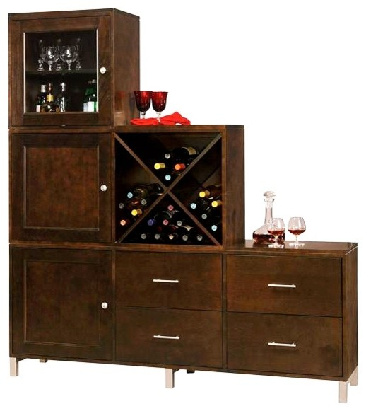 Zoe cabinet w 4 panel drawers in espresso contemporary wine and bar cabinets - Contemporary bar cabinet on a small budget ...
