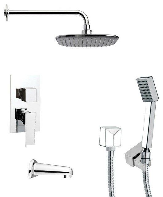Square Tub And Shower Faucet With Handheld Shower Contemporary Tub And Sh