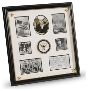 U s navy medallion 7 picture collage frame with stars for Modern collage frame