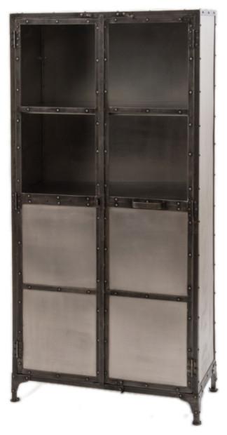 Darby cabinet industriel vaisselier par marco polo imports - Vaisselier style industriel ...