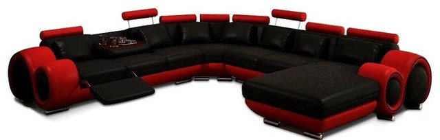 black and red leather sectional sofa contemporary sectional sofas