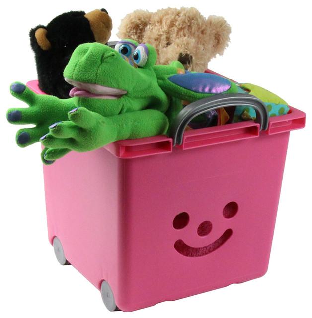 Bac roulettes empilable en plastique rose - Bac rangement jouet plastique ...