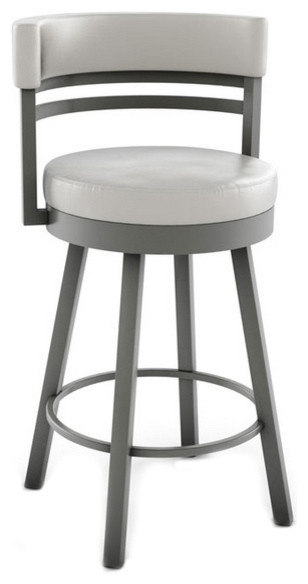 Round Swivel Stool With Metal Base Counter Height 26