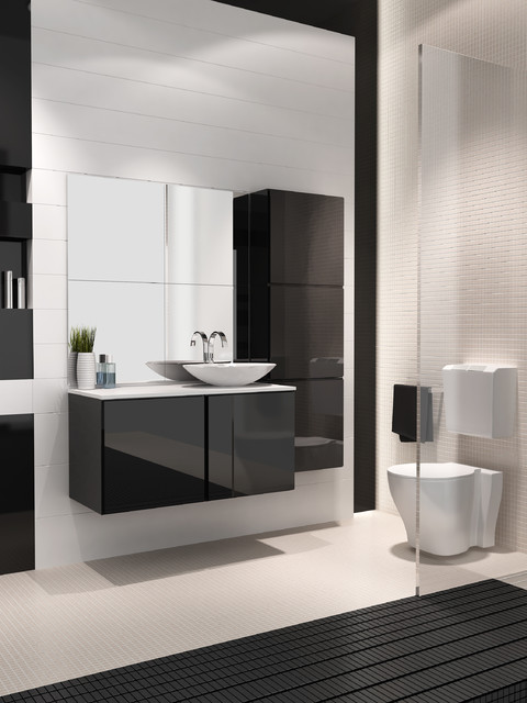 Michigan 40 inch bathroom vanity. Black high gloss. contemporary ...