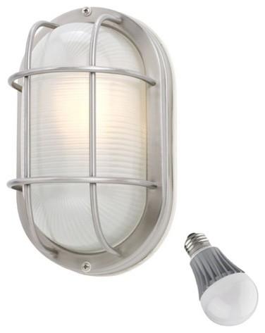 Bulkhead Exterior Wall Lights : Oval Bulkhead Marine Light with LED Bulb - 11-Inches Wide - 39956 SS LED - Beach Style - Outdoor ...
