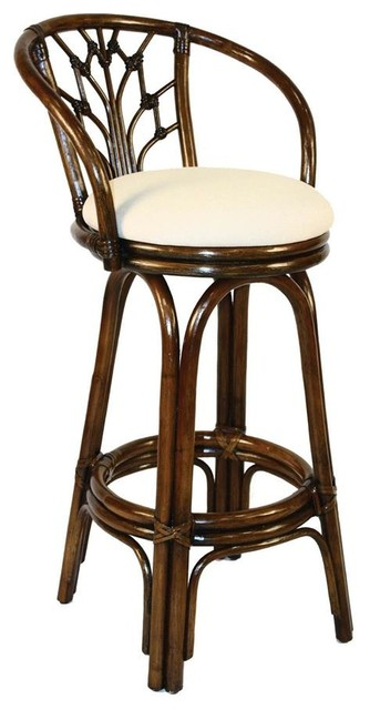 Indoor Swivel Rattan Amp Wicker 30 In Bar Stool In Antique