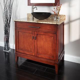 36 Tobacco Madison Vessel Sink Vanity Rustic Bathroom Vanity Units
