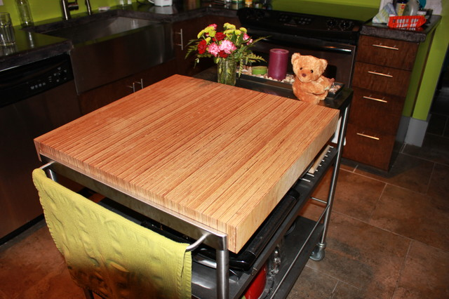 Baltic Birch Butcher Block Island Top Modern Kitchen