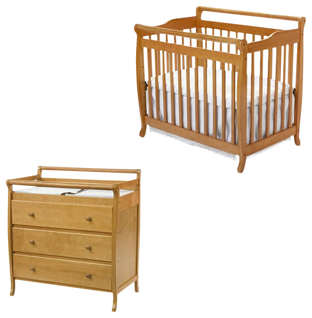 davinci emily mini 2 in 1 convertible wood baby crib set with changing table in transitional. Black Bedroom Furniture Sets. Home Design Ideas