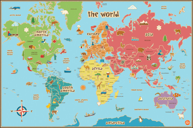 Dry Erase World Map Wall Decal Contemporary Kids Wall Decor by WallPops