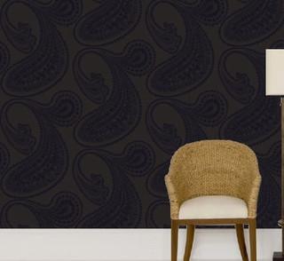 rajapur black flock on charcoal wallpaper modern
