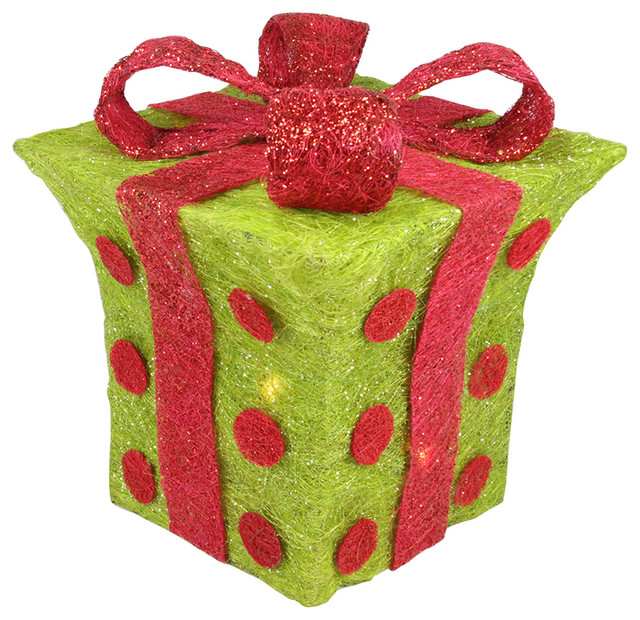 Lighted Sisal Polka Dot Present Christmas Yard Art