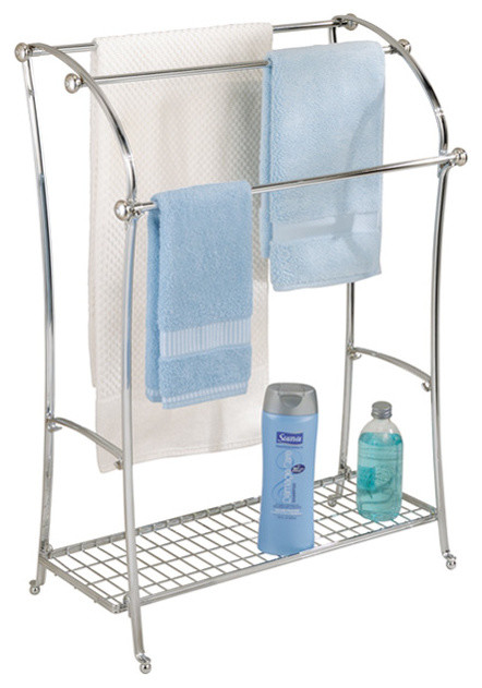 Chrome york lyra floor towel stand modern towel racks for Bathroom accessories stand