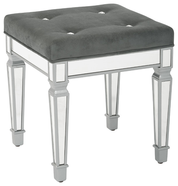 Reflections 18 Mirror Finish Framed Stool With Padded Velvet Fabric Top Contemporary Vanity