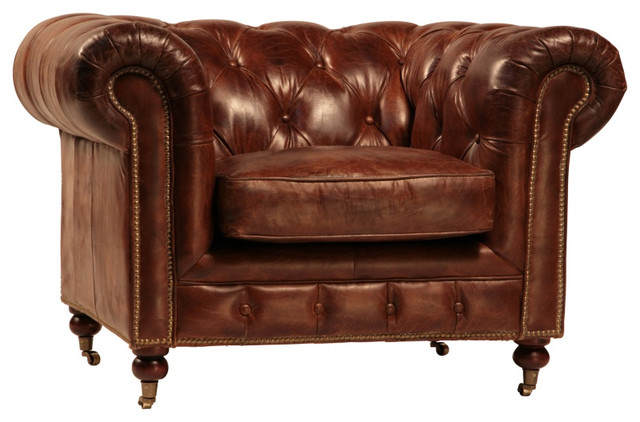 Curved back tufted brown leather club chair traditional for Traditional tufted leather sofa