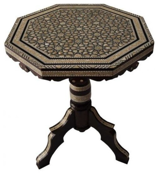 Egyptian Mother Of Pearl Mosaic Inlaid Wood Octagonal Coffee Table Traditional Coffee Tables