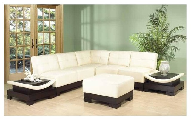 Mirage 6 pc sectional set ivory contemporary living for Bellagio button tufted leather brown chaise