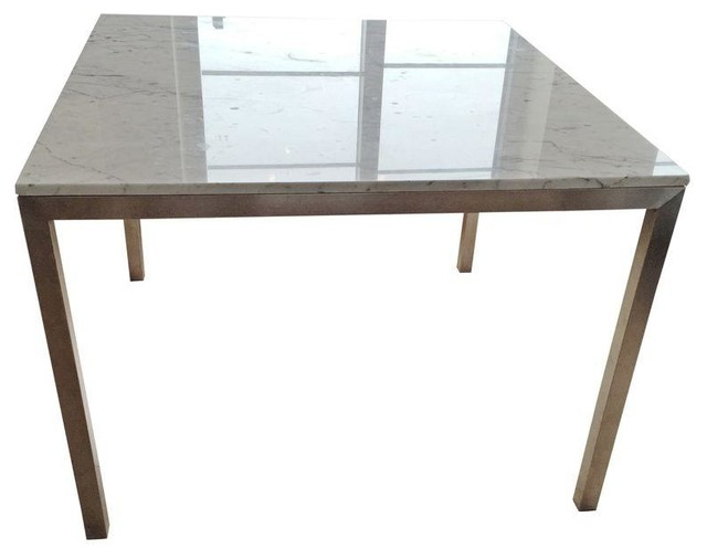 Room board portica dining table marble steel modern for Dining room tables houzz