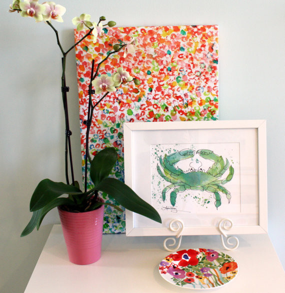 Seafoam green crab print tropical artwork richmond for Seafoam green home decor