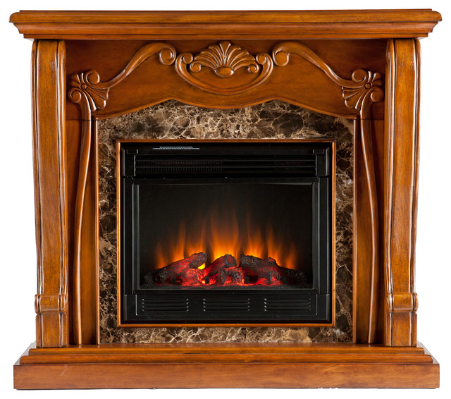 Cardona Electric Fireplace Walnut Victorian Indoor Fireplaces By Luxvanity