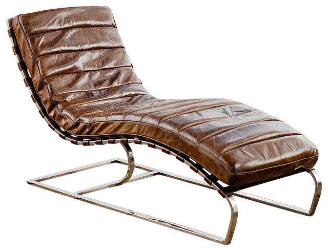 Regina andrew vintage brown leather lounge chaise for Brown chaise lounge indoor