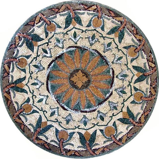 round floral mosaic loradi m diterran en carrelage mosa que par mozaicoart. Black Bedroom Furniture Sets. Home Design Ideas