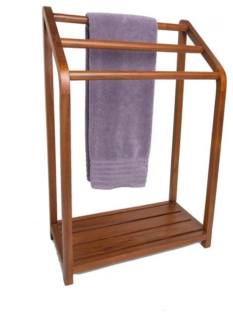 Spa Collection Versatile Teak Towel Rack Transitional
