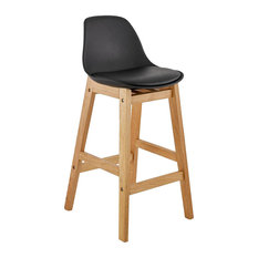 Elody Mini Bar Stool With Wooden Legs, Black