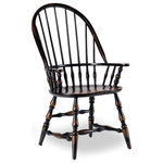 Hooker Furniture - Sanctuary Windsor Arm Chair, Ebony - Whether pulled up to the dining table or incorporated in your living room design, the Sanctuary Windsor Armchair adds charming style and a dose of country-inspired character to your space.