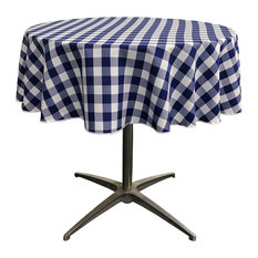 "LA Linen Round Gingham Checkered Tablecloth, White and Navy, 51"" Round"