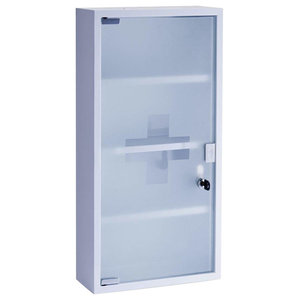 Wall Mounted Medicine Cabinet, White Metal and Frosted Glass and 4-Shelf