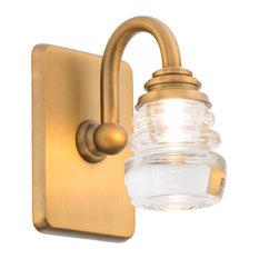 """Rondelle LED Bathroom Vanity/Wall Light 3000K, Aged Brass, Single Light, 5"""""""