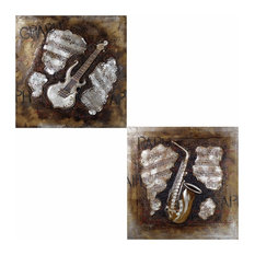 Guitar Oil Painting,Brown,Set Of Two