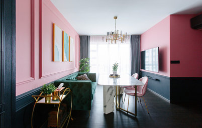 Houzz Tour: Pretty in Pink Meets Bold in Black in This Flat