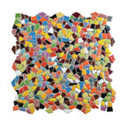 SomerTile Dizzy Ceramic Mosaic Floor and Wall Tile, Glossy Multi, 0.88, Modern
