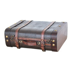 Quickway Imports - Decorative Wooden Leather Suitcase - Decorative Trunks
