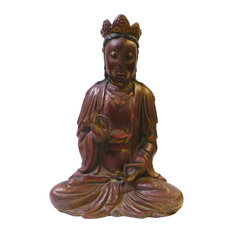 Chinese Red Brown Lacquer Wood Sitting Kwan Yin Figure Acs1374