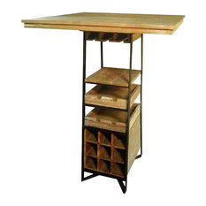 Recycled Teak and Steel Bistro Table With Wine Bar